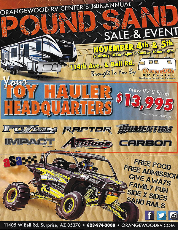 Pound Sand event will be November 4-5, 2017 at Orangewood RV in Surprise, Arizona