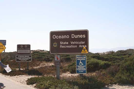 Signs at entrance to Oceano SVRA