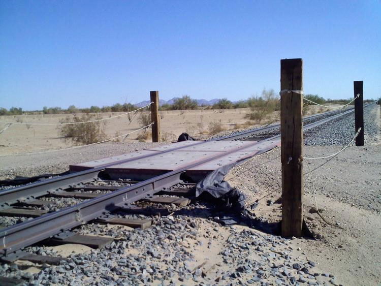Union Pacific Railroad in recent years closed off access to three at-grade crossings near the Imperial Sand Dunes that it used for maintenance and were not meant for public use. PHOTO COURTESY OF LANCE RICOTTA